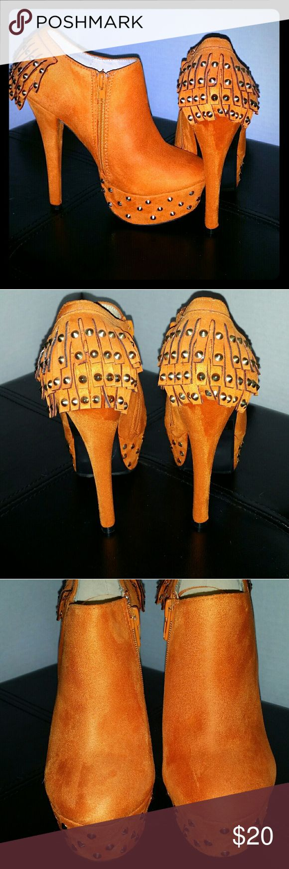 FRH Orange Suede Fringe High Heel Booties FRH Orange suede fringe platform high heel booties with gold tone studs Size 5.5 In great like new condition without the shoebox FRH Shoes Ankle Boots & Booties