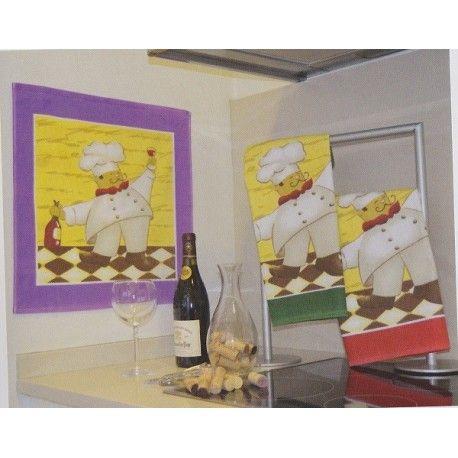 Paño de cocina Cocinero. Paño de cocina estmapado con un cocinero. 100% algodón. Medida: 50X50 cm. Colores: Morado, Verde y Rojo Gran calidad del algodón, muy absorventes y suaves.