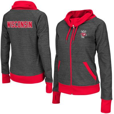 Wisconsin Badgers Colosseum Women's Velocity Cowl Neck Full Zip Jacket - Charcoal