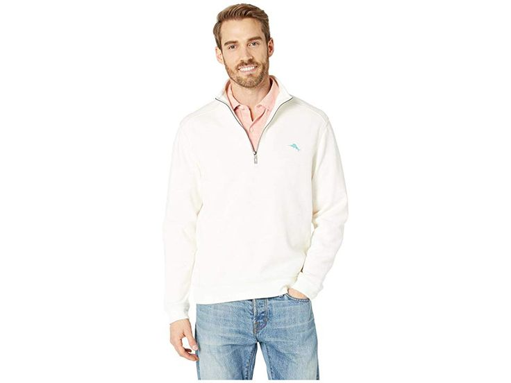 Tommy Bahama Tobago Bay 1/2 Zip Pullover (Coconut) Men's Sweater. Cozy up by the…