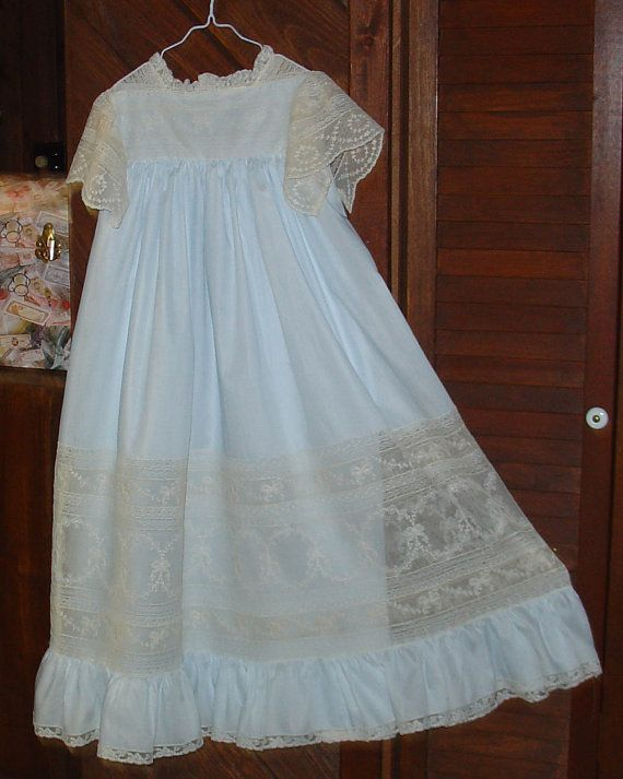 Heirloom Dress size 8 blue/ecru beautiful lace by daisysdaughter