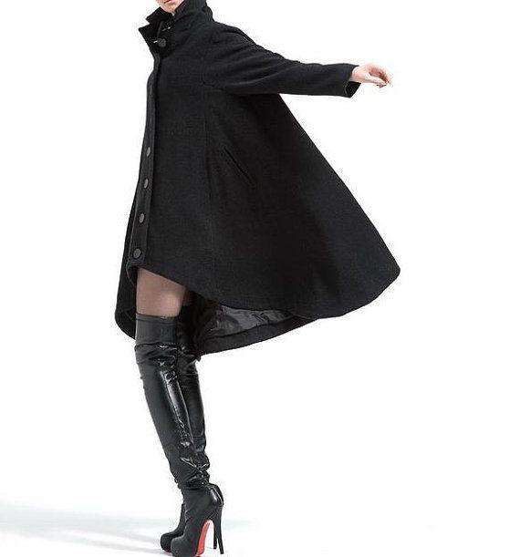 Black single breasted wool coat cloak outerwear by MaLieb on Etsy, $179.00