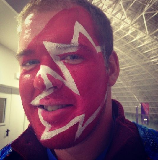 That is some serious face paint.  CBC Olympics Sochi 2014 Canada