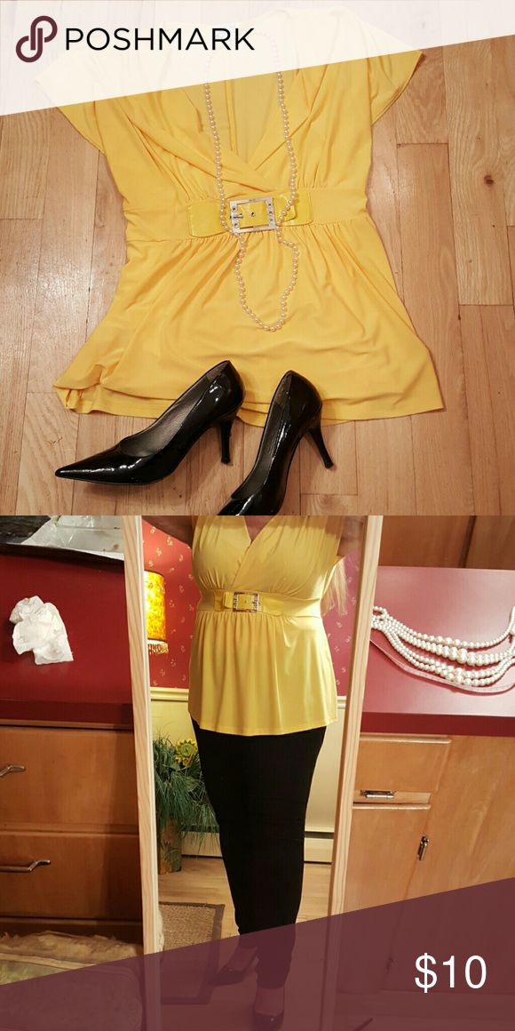 Yellow Shirt Lovely, lively colored top for work or play. Self tie in back to adjust fit. Dots  Tops