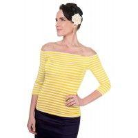 Gloria Off Shoulder Retro Striped Top in Yellow