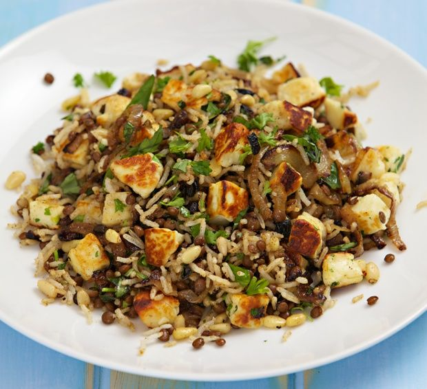 Rice with Caramelised Onions, Pine Nuts and Haloumi Recipe