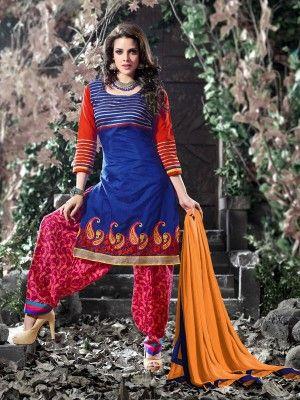 Blue Pink Cotton Elegant Patiala Salwar Kameez     v parisworld.in