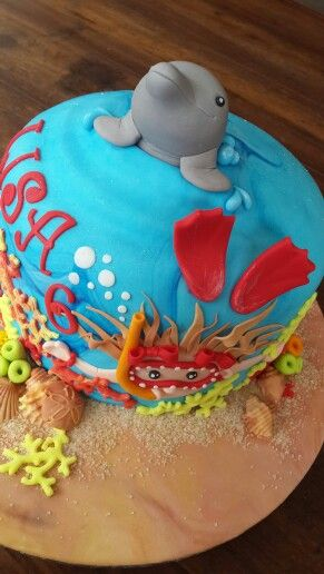 Dolfin/swimming girl/under the sea cake