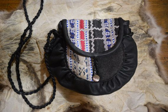 "Modern saami bag. Traditional sami pattern, white and blue stripes with silver. Shoulder bag."" Blue Jewel""."