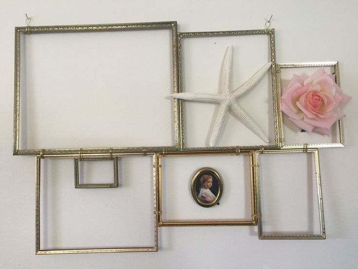 Picture frame collage as wall decor; salvaged metal picture frames repurposed into wall decor, add your own embellishments, photos... by Estate2 on Etsy