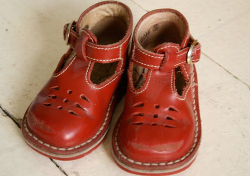 red high top baby shoes...