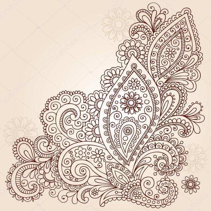 Handgezeichnete Blumen, Blätter und Reben abstrakte paisley Henna Mehndi paisley floral Tattoo Doodle-Vector Illustration Design-Elemente