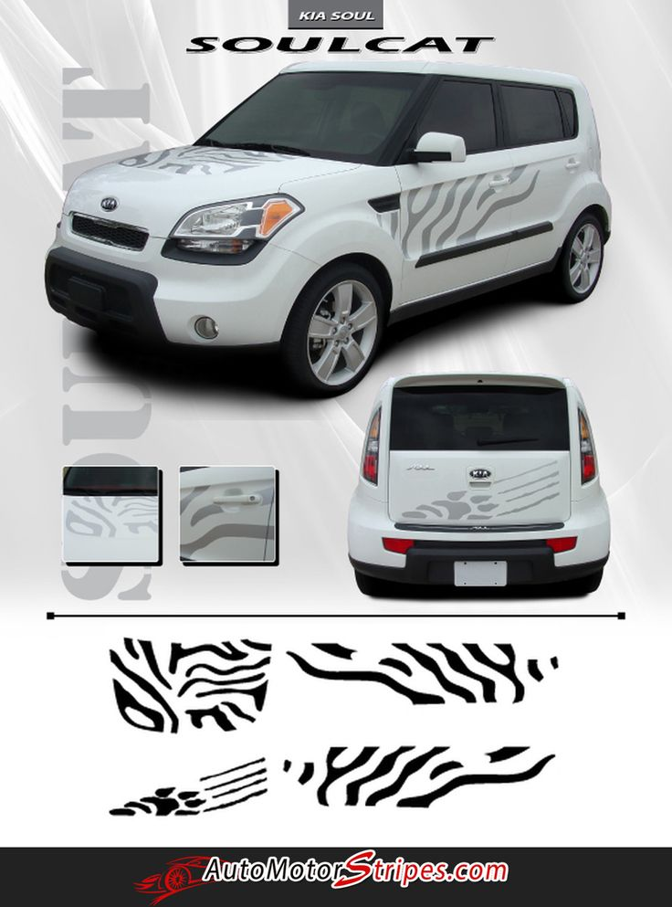 2010-2013 Kia Soul Soul Cat Hood Rear Jungle Animal Factory Style Side Rear Vinyl Graphics