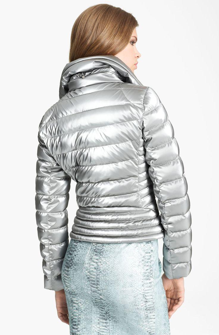 Blumarine Asymmetrical Puffer Jacket In Silver Lyst