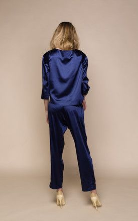 Lo Blue Satin Blouse Top by ACURRATOR (Silk Fred)