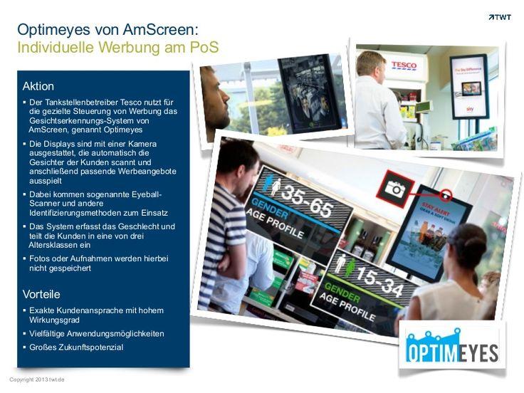 #Optimeyes von AmScreen: Individuelle #Werbung am PoS. http://de.slideshare.net/TWTinteractive/optimeyes-von-am-screen-individuelle-werbung-am-pos