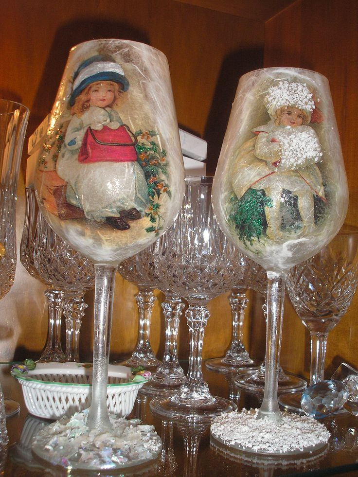 decoupage christmas glasses by stella