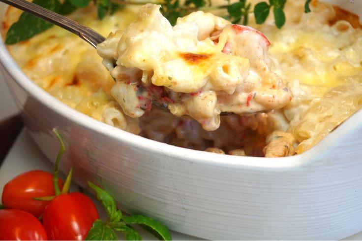 Krämig pastagratäng med kyckling och grillad paprika