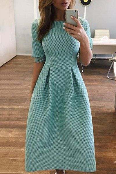 Stylish Round Neck Half Sleeve Solid Color Midi Dress For Women