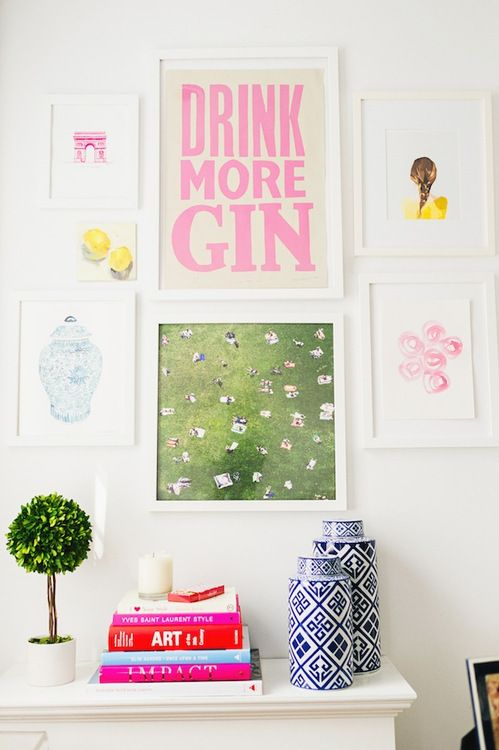 Fun prints. Loving the quote, drink more gin, lovely colours, beautiful blue and white vases, great pictures, posters