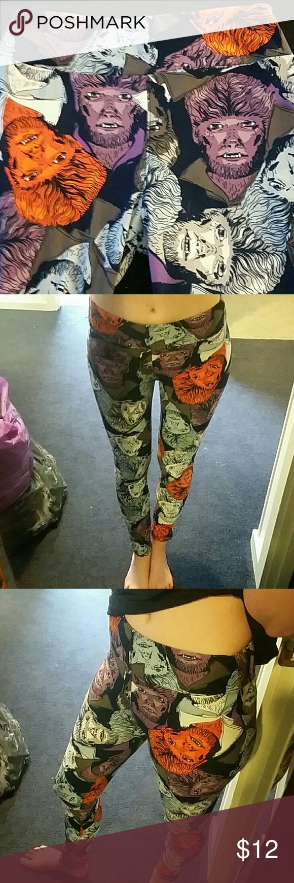 """Lulu Roe Leggings in """"Wolfman"""" Lulu Roe leggings with a """"WolfMan"""" print to it. Spooky babes will lovd these. One size but could fit xs,s,or medium. I am 5'7, 120lb and they are stretchy, soft, spooky!!! LuLaRoe Pants Leggings"""