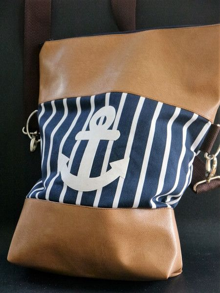 Schultertaschen - Tasche Anker cognac Kunstleder - ein Designerstück von traumgenaeht bei DaWanda