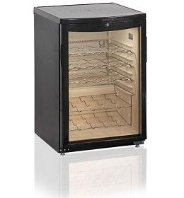 Mini (wijn)koelkast, met glazen deur en verlichting