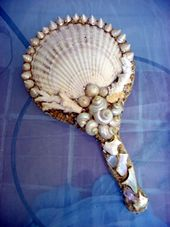 Mermaid Mirror. Buy vanity mirror with handle and get some sea shells and your glue gun out!!