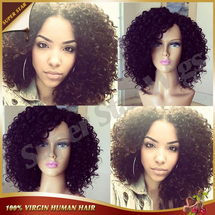 Best Mongolian Kinky Curly Full Lace Wig Glueless Full Lace Front Human Hair Wigs For Black Women Afro Kinky Curly Wig FreeShip