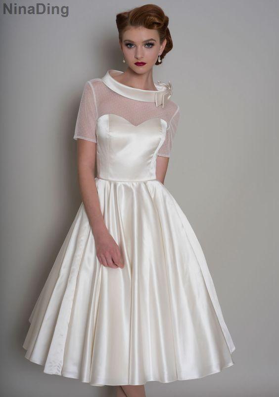 1950 s長自由奔放に生きるウェディングドレスで袖短い下100ポルカドットo