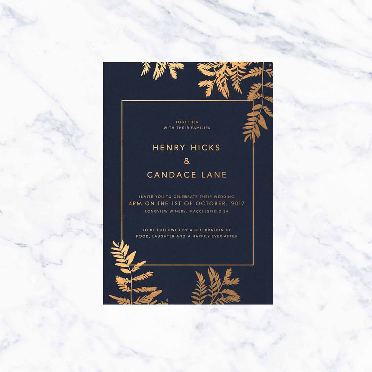 Navy Luscious Fern Foil Wedding Invitations