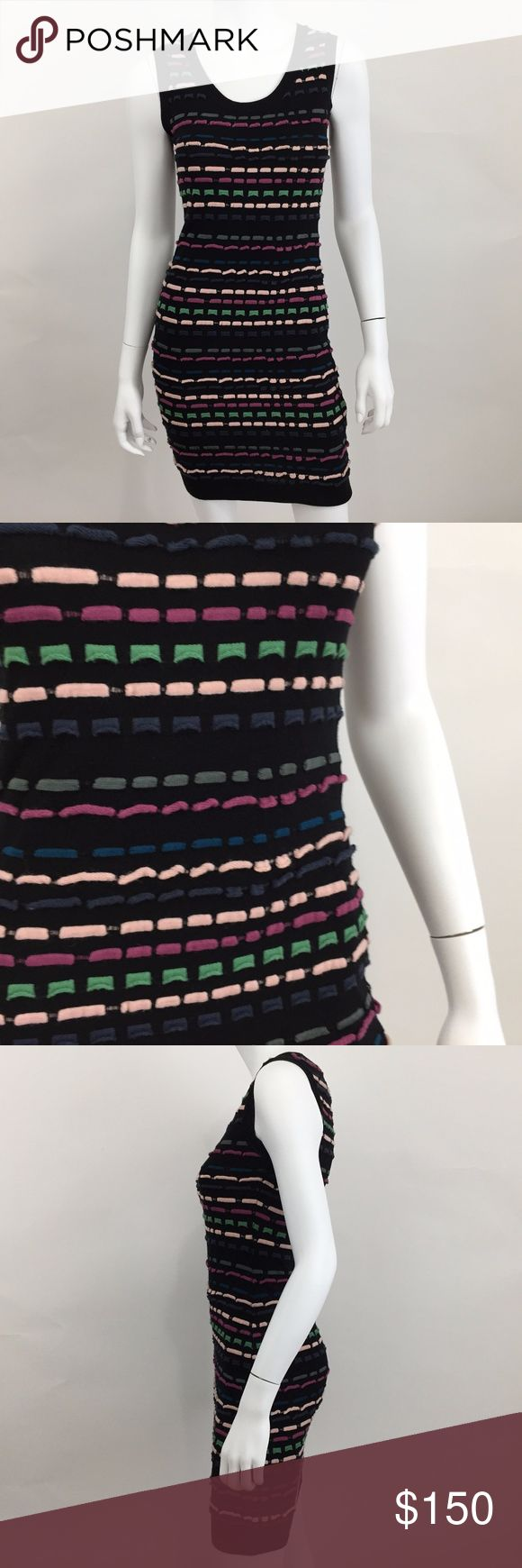 M Missoni 2 Black Wool Yarn Stripe Bodycon Dress VGUC - There is some very faint deodorant staining at underarm. Please see pic Measurements according to brand: Bust 32 Waist 24 Hips 34 #0409 M by Missoni Dresses