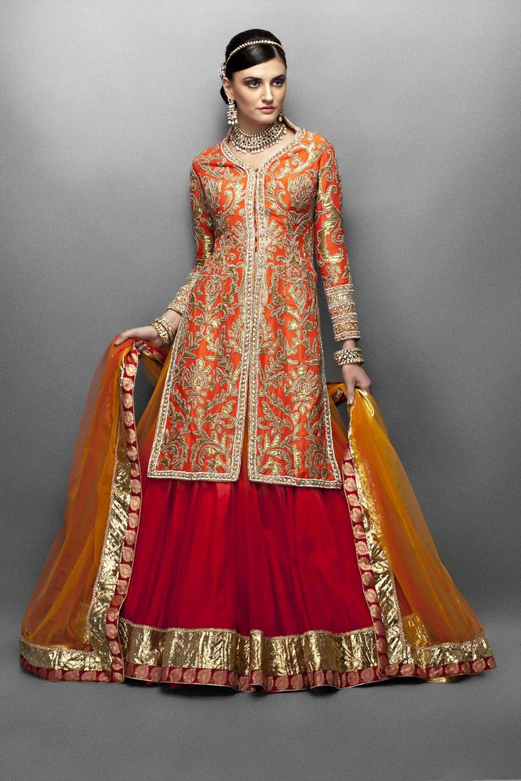 Orange and Red Lehenga - great color combo....see more unique wedding dresses on www.weddingsonline.in