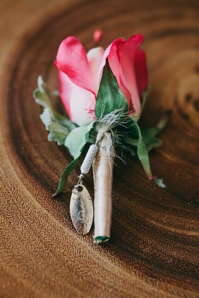 Grooms Boutonniere surprised with fishing lure