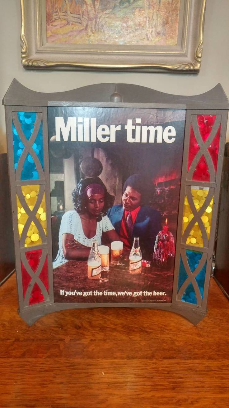 Vintage Miller Time Hanging Beer Sign with Stained Glass like Design and Attracrive African American Couple