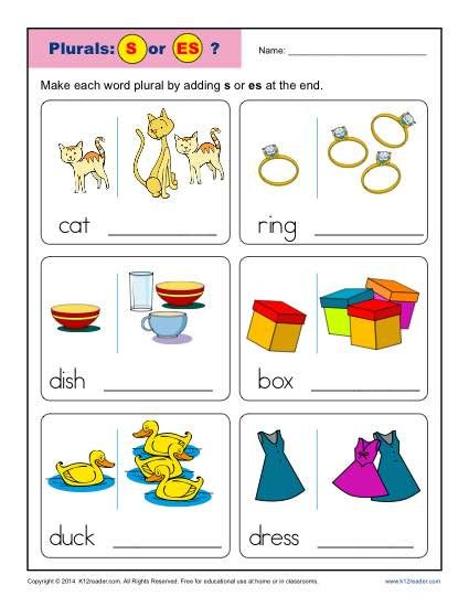 Kindergarten Plural Noun Worksheet Activity - S or ES. To change a noun from singular to plural, we usually add either -s or -es. The trick is knowing which one! This worksheet is a great drill for students to decide which plural ending to add.