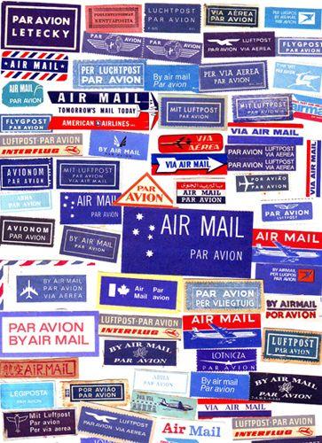 airmail labels: via katey nicosia