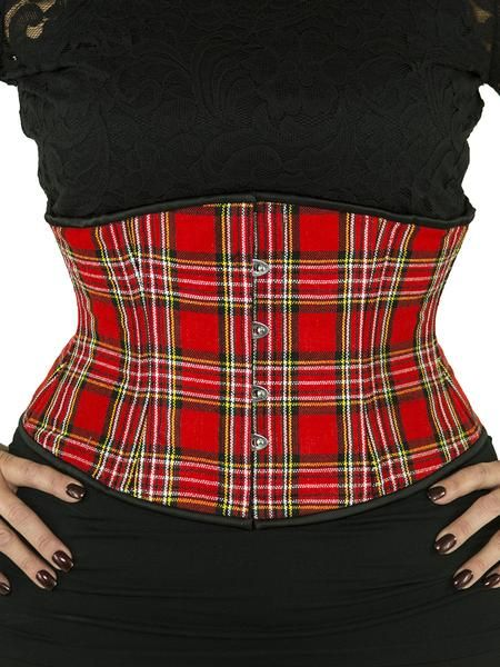 This gorgeous OC underbust corset is made with high quality red plaid polyester with black satin trim. The CS-411 steel boned waist trainer is designed to dramatically shape the waist and to instantly give an enhanced hourglass shape. The 411 has the same curve as the 426, but is shorter and doesn't require as much curve in the hip as the 426 does to fit well. Have some fun with your curves! Sizes 34-40. Smaller sizes available.   100% Satisfaction Guarantee