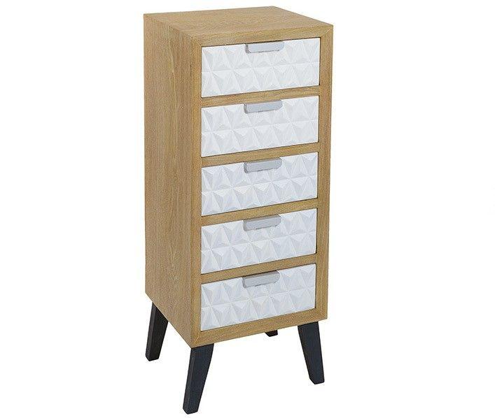 Orginal sinfonier nórdico madera y blanco con cinco cajones. #muebles #dormitorio #recibidor #salon #comedor