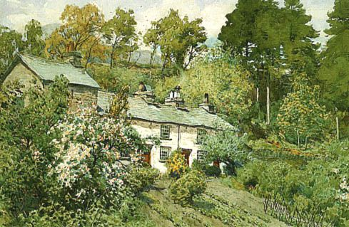 Mill Dam Cottages, Coniston (loose print) | Loose prints by Alfred Heaton Cooper | Prints of paintings by Alfred Heaton Cooper | Fine Art Prints | FINE ART GALLERY | Home | Heaton Cooper Studio