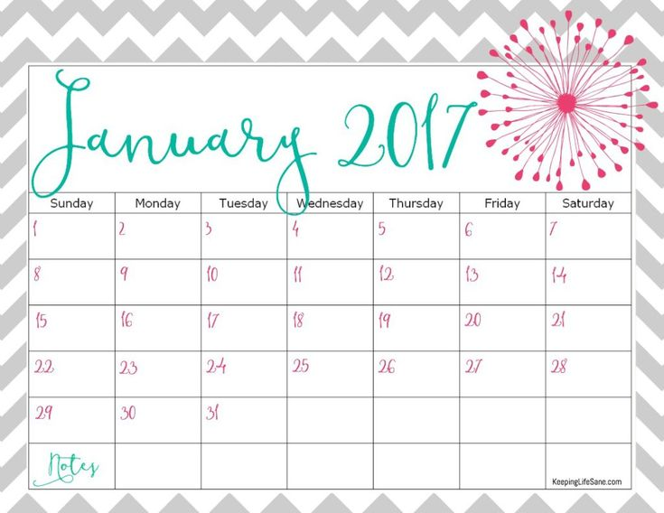 Free 2017 Calendar- Print the entire year or just the months you need!  So cute!!
