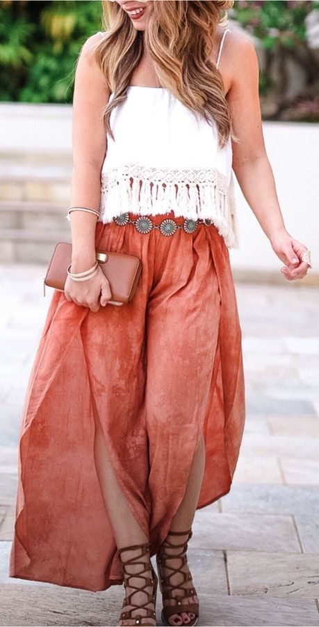 #fall #outfits  women's white spaghetti strap top and brown skirt