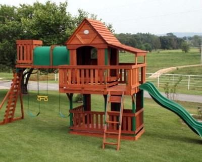New Giant Wooden Swingset Kids Playground Swing Set Slide Clubhouse Cedar Wood On Ebay