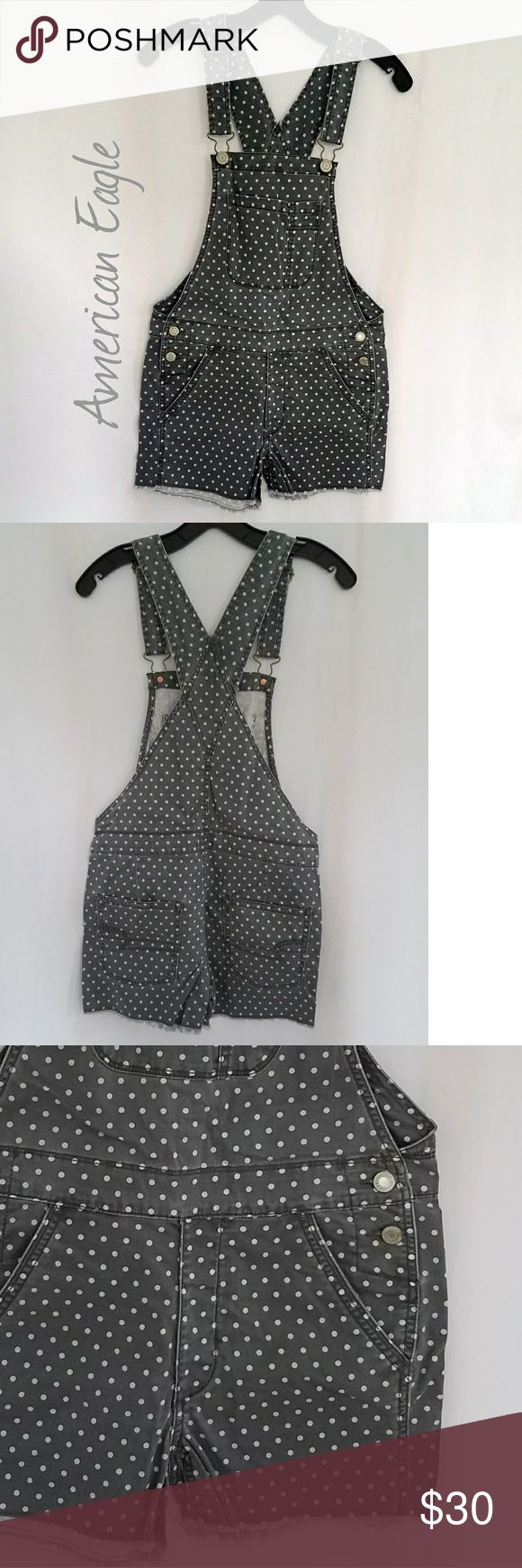 🎈AE Polka•Dot Jean Overalls NWOT. XXS. Grey jean with a lighter grey/green polkadot.    PLEASE feel free to submit an offer or add to a bundle for a discount! Please view photos, description and measurements. Please ask questions prior to purchasing. Mannequin is 2/4 for size reference. Please accept your order promptly when it arrives! I DO NOT TRADE. American Eagle Outfitters Jeans Overalls