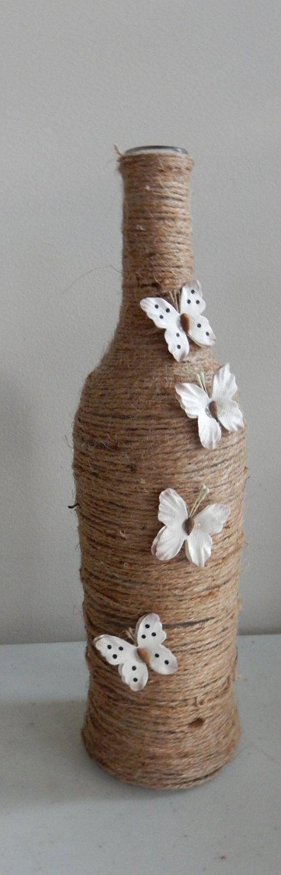 Twine wrapped wine bottle with silk butterflies от BellaBottles67