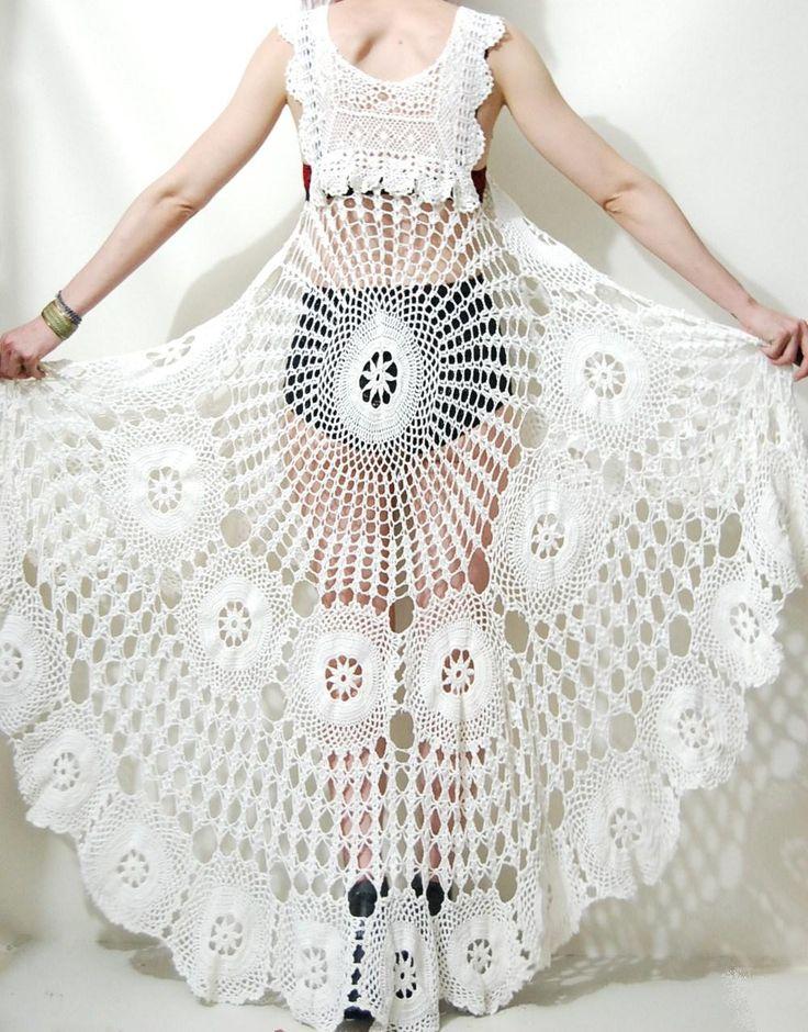 Crochet Dress VINTAGE LACE White Fishtail/Train Bohemian Hippie Cotton Scallop Wedding Handmade ooak Size xs s m. $289.00, via Etsy.