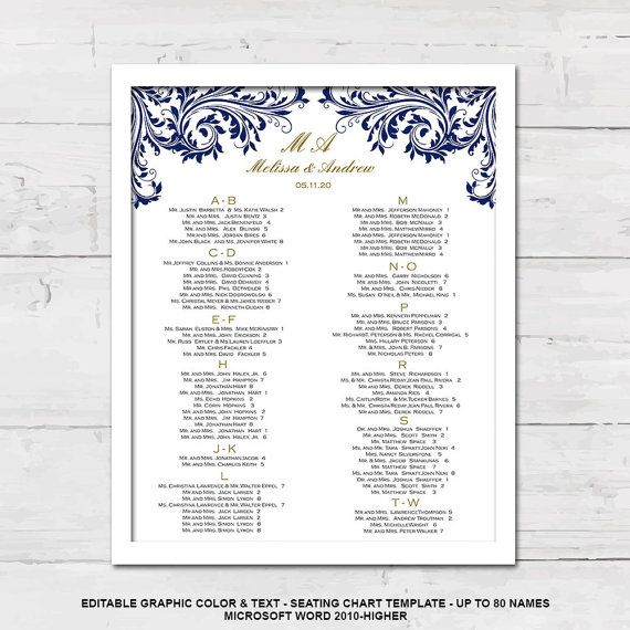 Seating chart template, Wedding seating chart, Printable, poster - color chart template