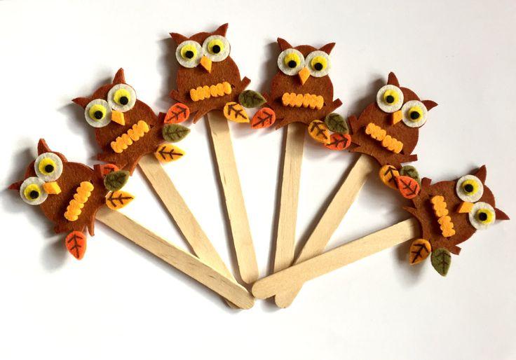 "Bookmark ""AUTUMNAL OWL"" - Handmade Bookmarks, Owls, Felt Creatios, Wood, Gift Idea, Favor, Favors di TheEmporiumOfWonders su Etsy"