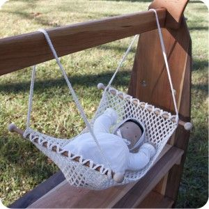 organic cotton crocheted doll hammock (Doll not included) by Palumba offering Waldorf dolls, clothing and creative play