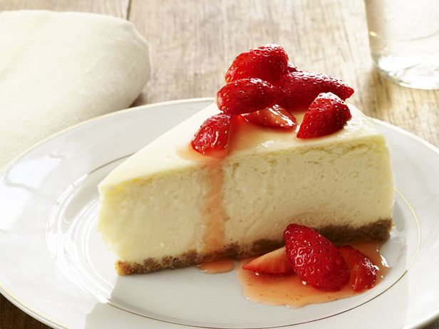 The secret to a low-fat cheesecake that still tastes rich and creamy? Neufchatel cheese, reduced-fat sour cream and fat-free cream cheese.